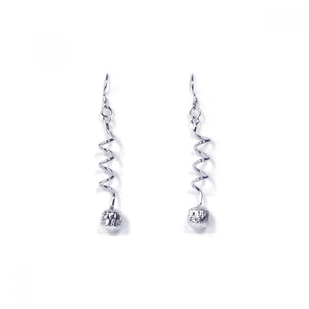 Twisted Wire Hanging Ball Cz Chandelier Hook Earring