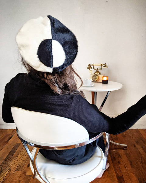 Duality Black and White beret - BKMC | The Brooklyn Millinery Company