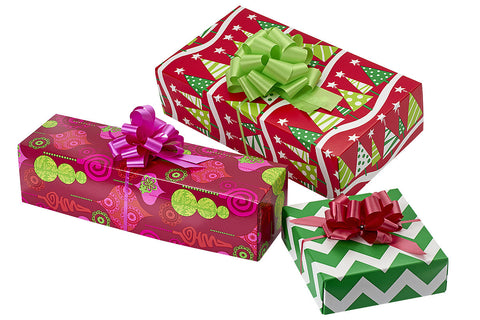 3-Pack Pre-Wrapped Holiday Wine Box Set with Tissue and Bows