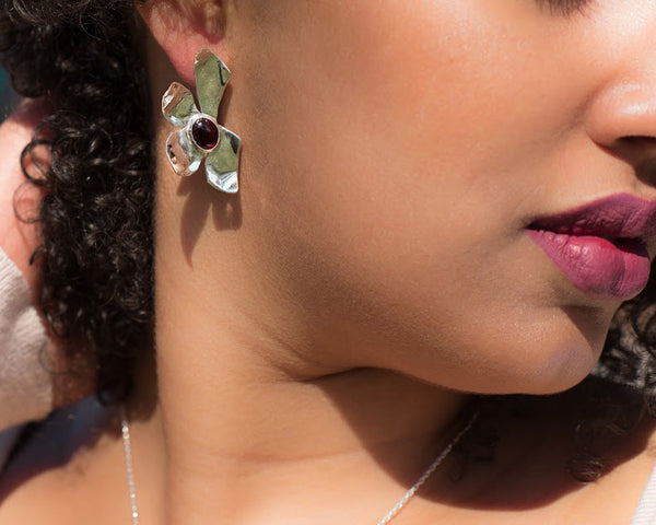 Aster Garnet Earrings