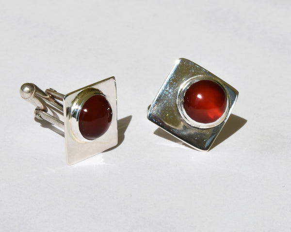 Diamond Carnelian Cufflinks