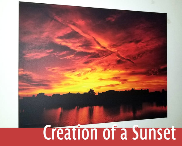 """Creation of a Sunset"" - Original photo on Canvas"