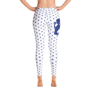 Fit Gear Online Spotted White Blue Leggings