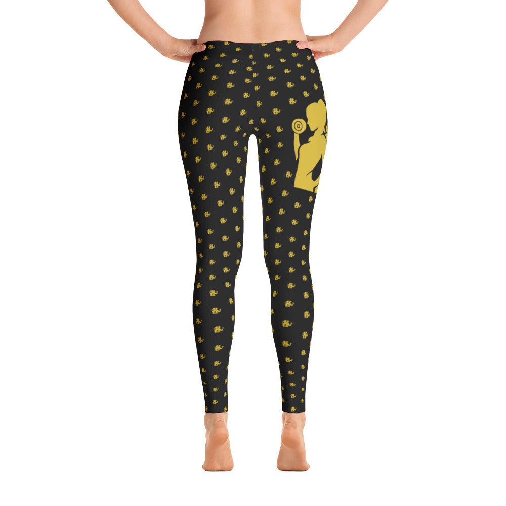 Fit Gear Online Black Gold Leggings (Thin Waistband)