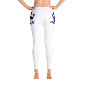 Fit Gear Online Solid White Blue Leggings