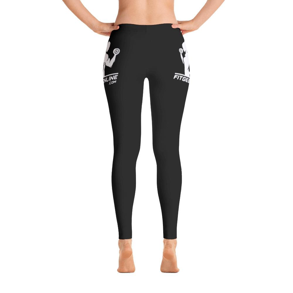 Fit Gear Online Black Leggings (White Logo)