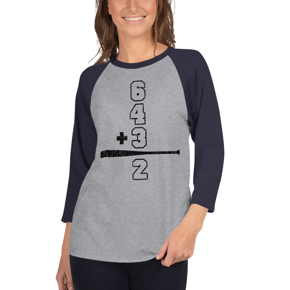 Baseball Math Double Play Womens 3/4 Sleeve Raglan Shirt