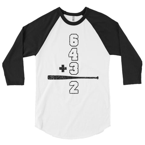 Baseball Math Double Play Mens 3/4 Sleeve Raglan Shirt