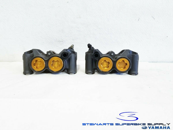 2005 YAMAHA YZF R6 OEM FRONT BRAKE CALIPERS LEFT RIGHT GOLD 05 YZFR6 BRAKES