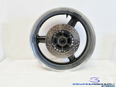 98 - 01 YAMAHA YZF R1 OEM REAR WHEEL ROTOR TWO TONE RIM BLACK SILVER STRAIGHT