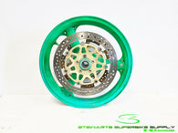 1998 - 1999 KAWASAKI NINJA ZX9R OEM GREEN FRONT WHEEL RIM ROTORS STRAIGHT 98 99