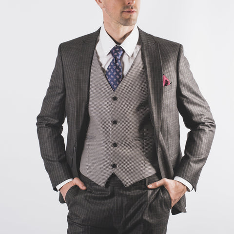 Alex Pinstripe Suit Charcoal