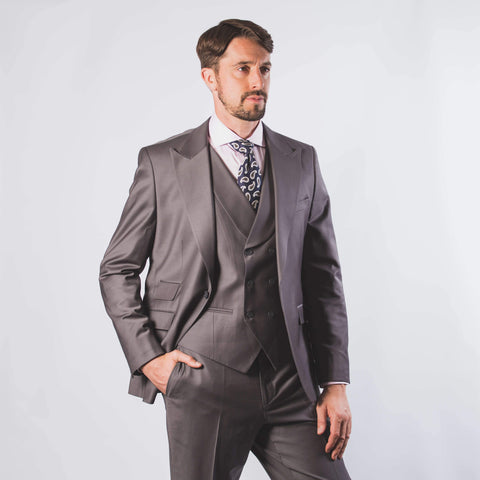 Super 120's Peak Lapel Grey