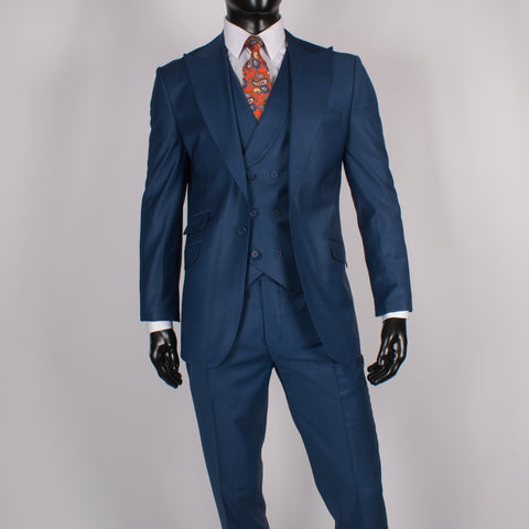 Super 120's Peak Lapel Blue
