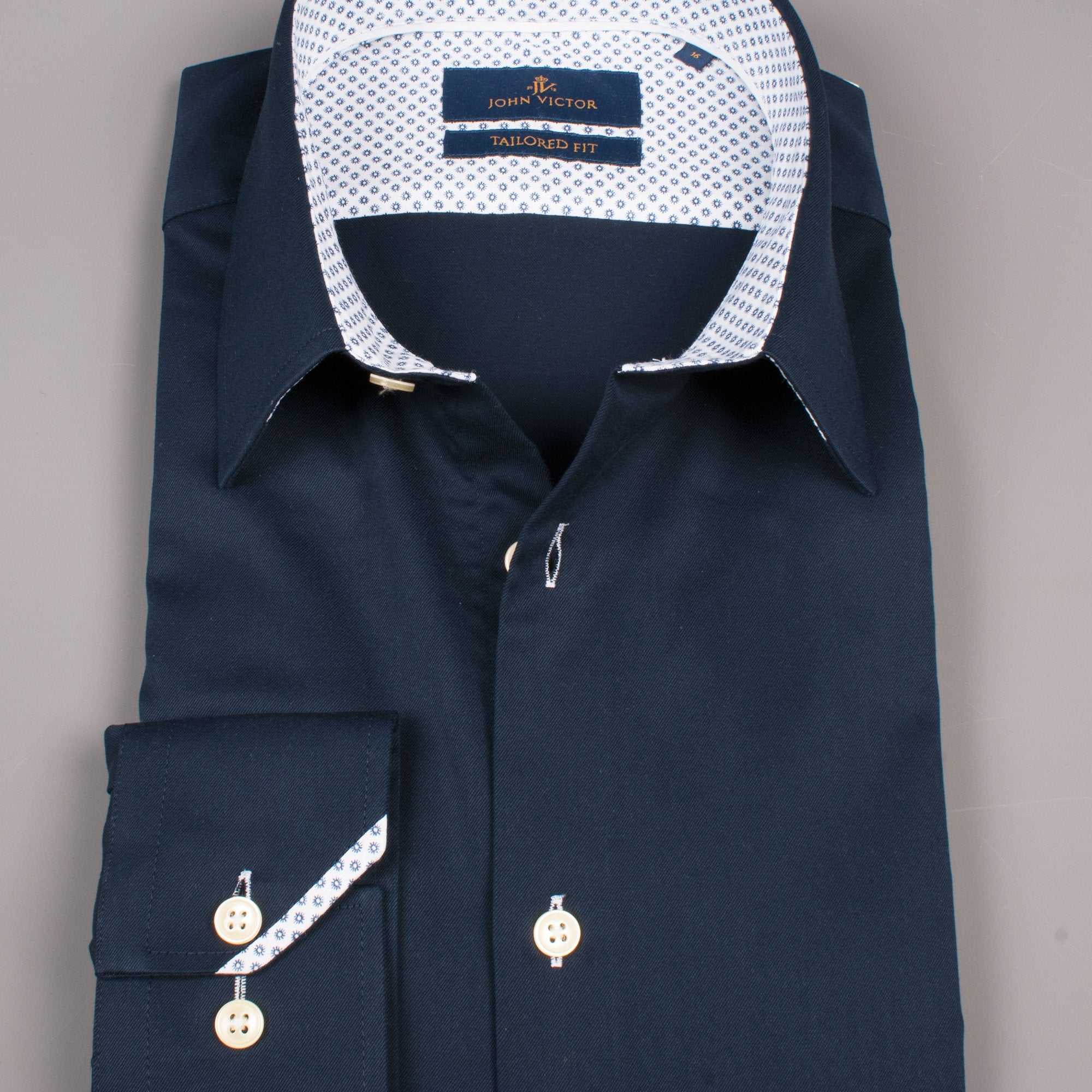 Navy Pointy Collar Shirt