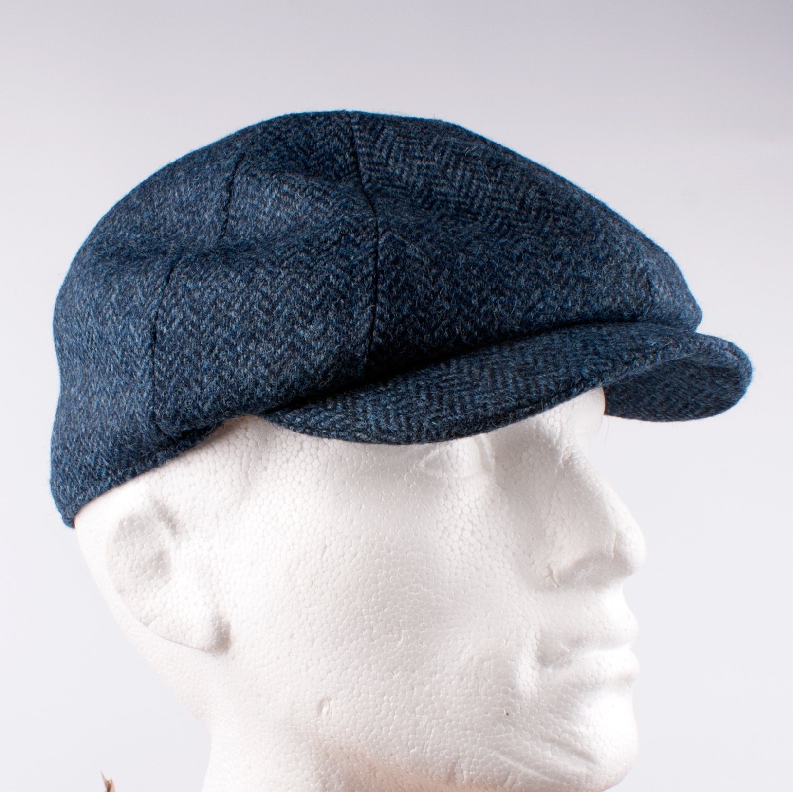 The Victor Hat Navy Herringbone Tweed