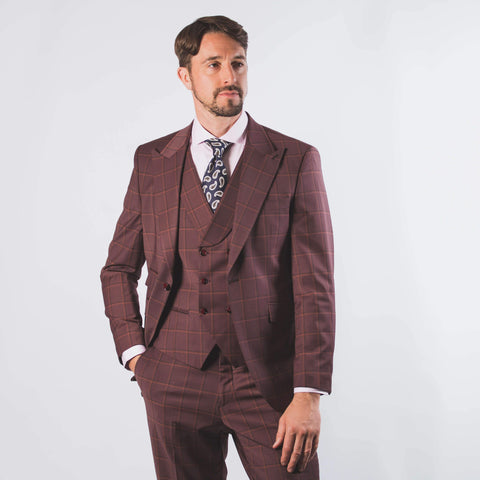 Vincent Burgundy Check Suit