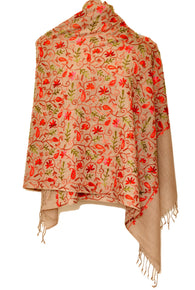Semi pashmina stole with jari work from Kashmir - KatraBAZAAR