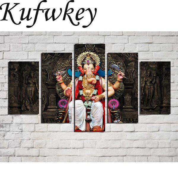 5pcs/set Diamond embroidery Shree Ganesh decoration pictures - KatraBAZAAR