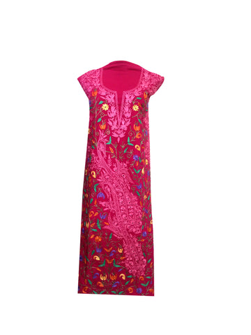 Summer Wear - Pink Suit With A Shape Jaal design - KatraBAZAAR