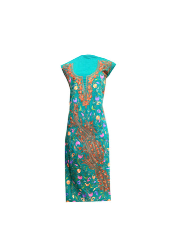 Summer Wear - Teal With A Shape Jaal design - KatraBAZAAR