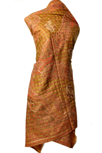 Shawl - Mustard with Golden Embroidery - KatraBAZAAR