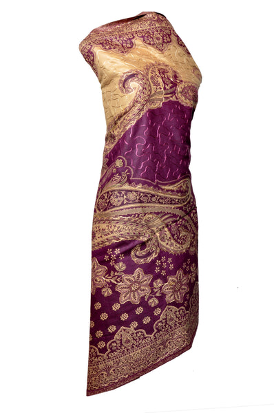 Shawl - Purple with Golden Embroidery - KatraBAZAAR