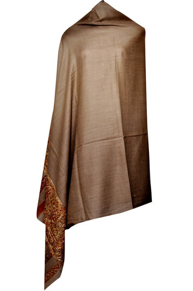 Semi Pashmina Shawl - Brown - KatraBAZAAR