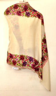 Creme Semi Pashmina Stole With Jari Work From Kashmir - KatraBAZAAR