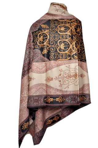 Semi Pashmina Jamawar Shawl with Needle Work - KatraBAZAAR