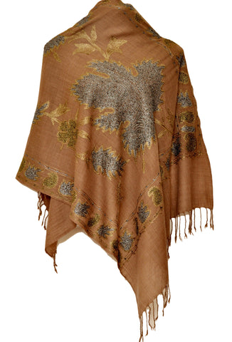 Light brown semi pashmina stole with Chinar leaf styled tilla work - KatraBAZAAR