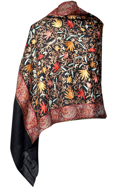 Embroidered Stole - Black Color - KatraBAZAAR