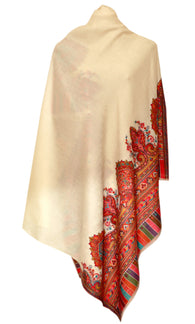 Creme Pashmina shawl with embroidery - KatraBAZAAR