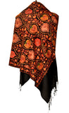 Black semi pashmina stole with jari work from Kashmir - KatraBAZAAR