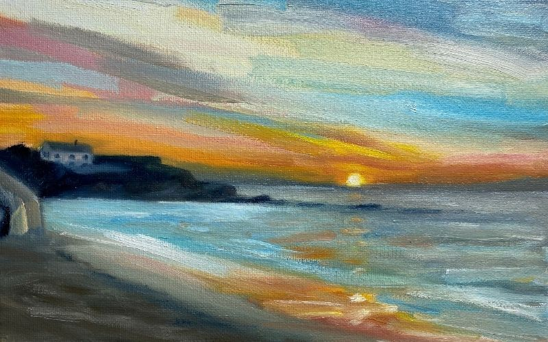painting of constantine bay cornwall