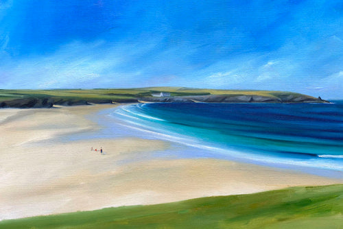 painting of harlyn bay cornwall