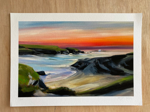 'Sunset over Trethias Island' Fine Art Print