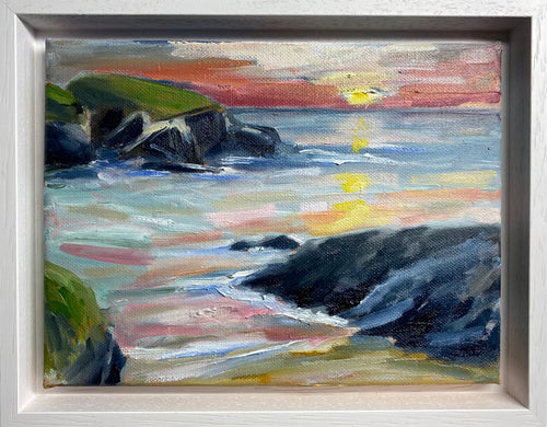 'Autumn Sunset at Treyarnon ' - Original Oil Sketch