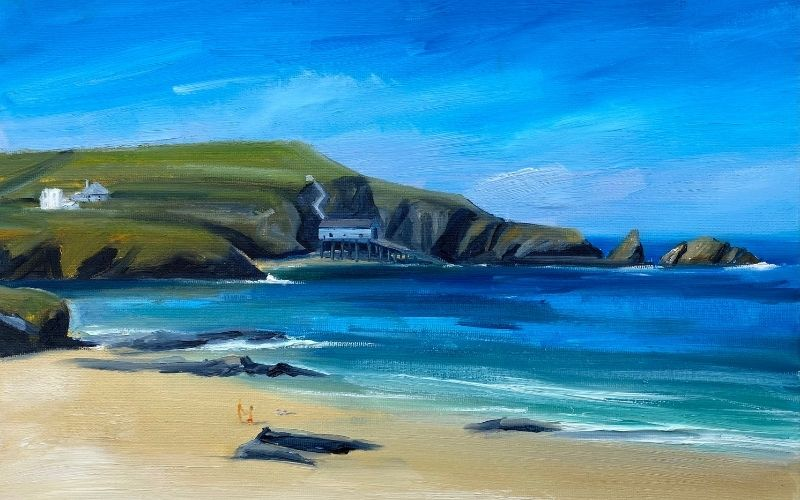 painting of mother iveys bay north cornwall