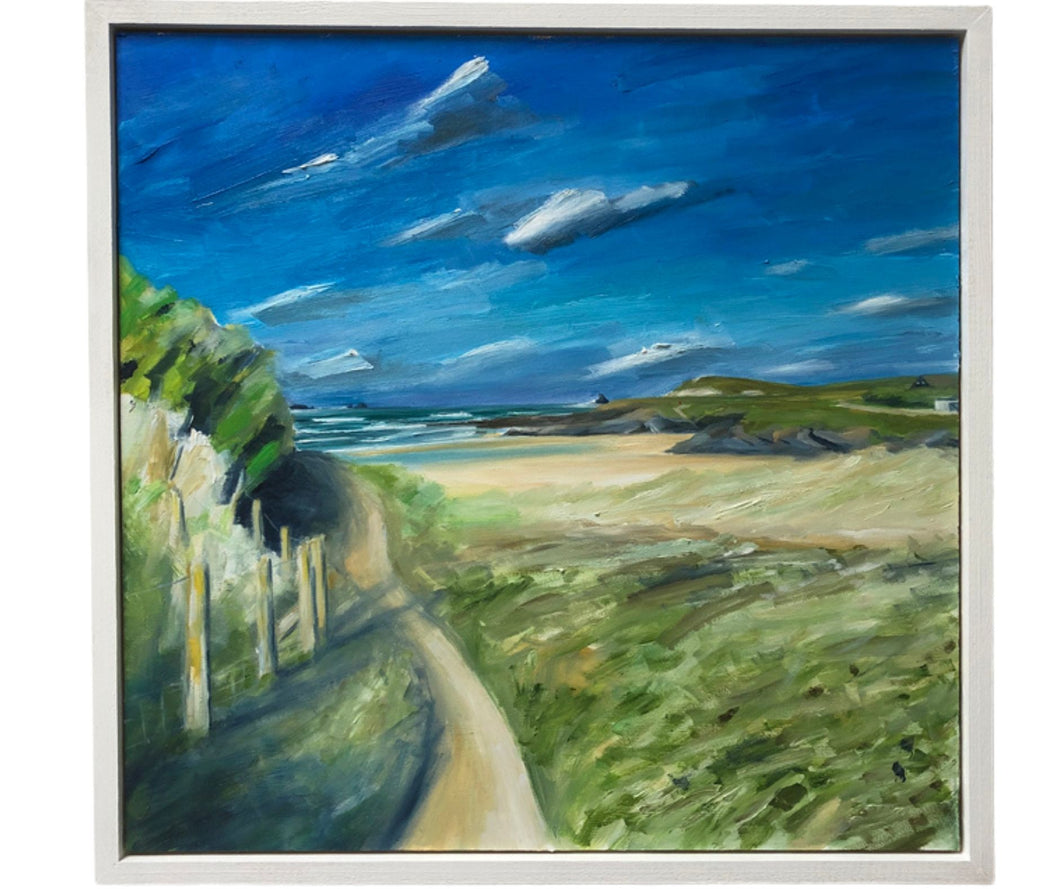 oil painting of treyarnon bay