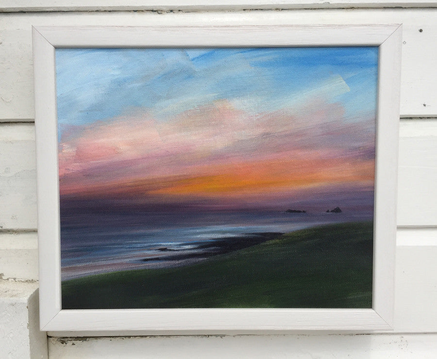 Treyarnon Sunset, painting by Toby Ray