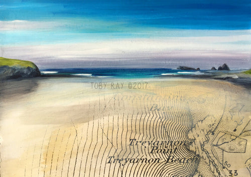 Original painting of treyarnon bay in cornwall