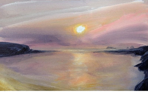 hazy treyarnon sunset painting