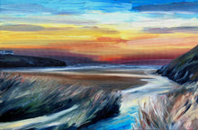'Porthcothan Sunset'- Original Oil Painting