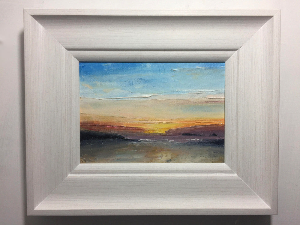 summertime sunset framed artwork of treyarnon bay