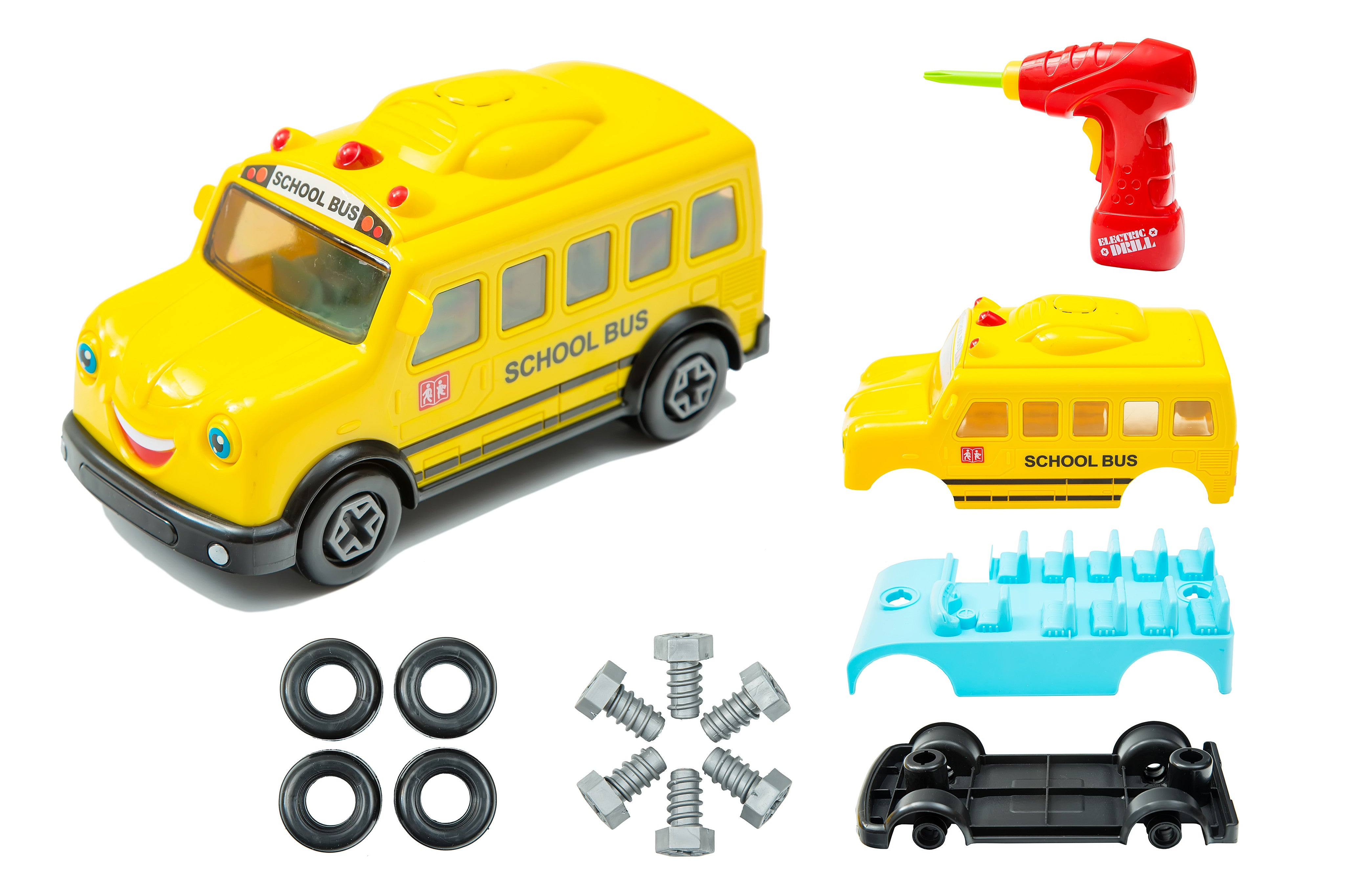 school bus take a part toy for kids with 15 take apart pieces build your own bus construction set