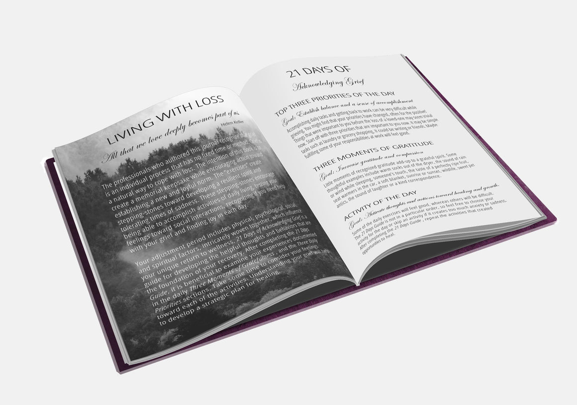 """Living With Loss"" grief journal BOOK interior introduction pages"