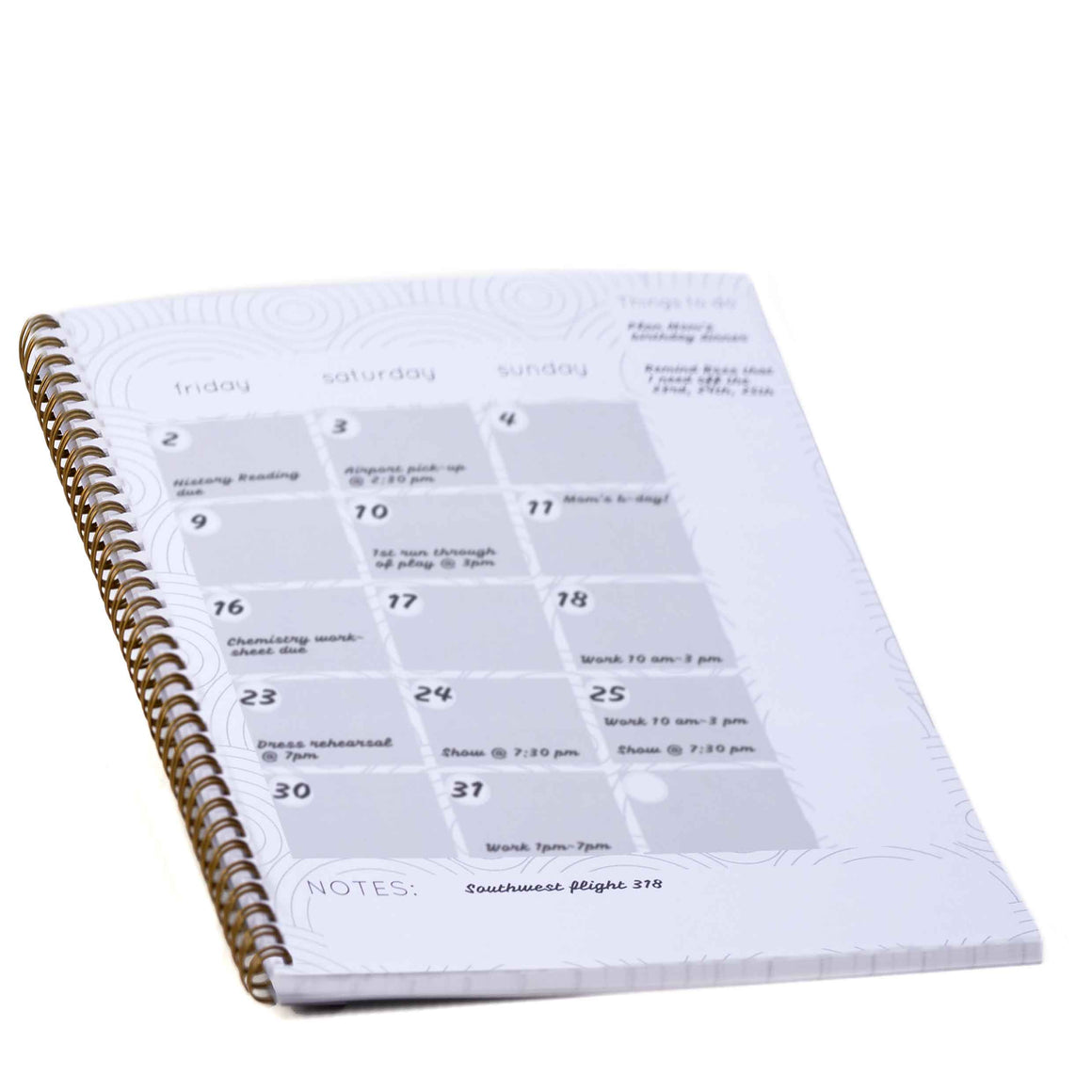 Daily Planner Inside Schedule Page product image - included with Dr. Don's Care Packages College Student Care Package.