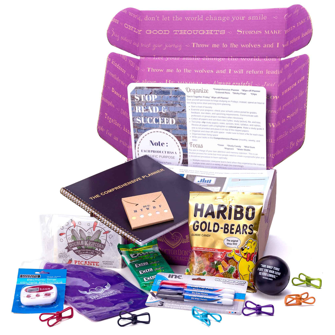 College Student Care Package from Dr. Don's Care Packages product image - items displayed in front of box.