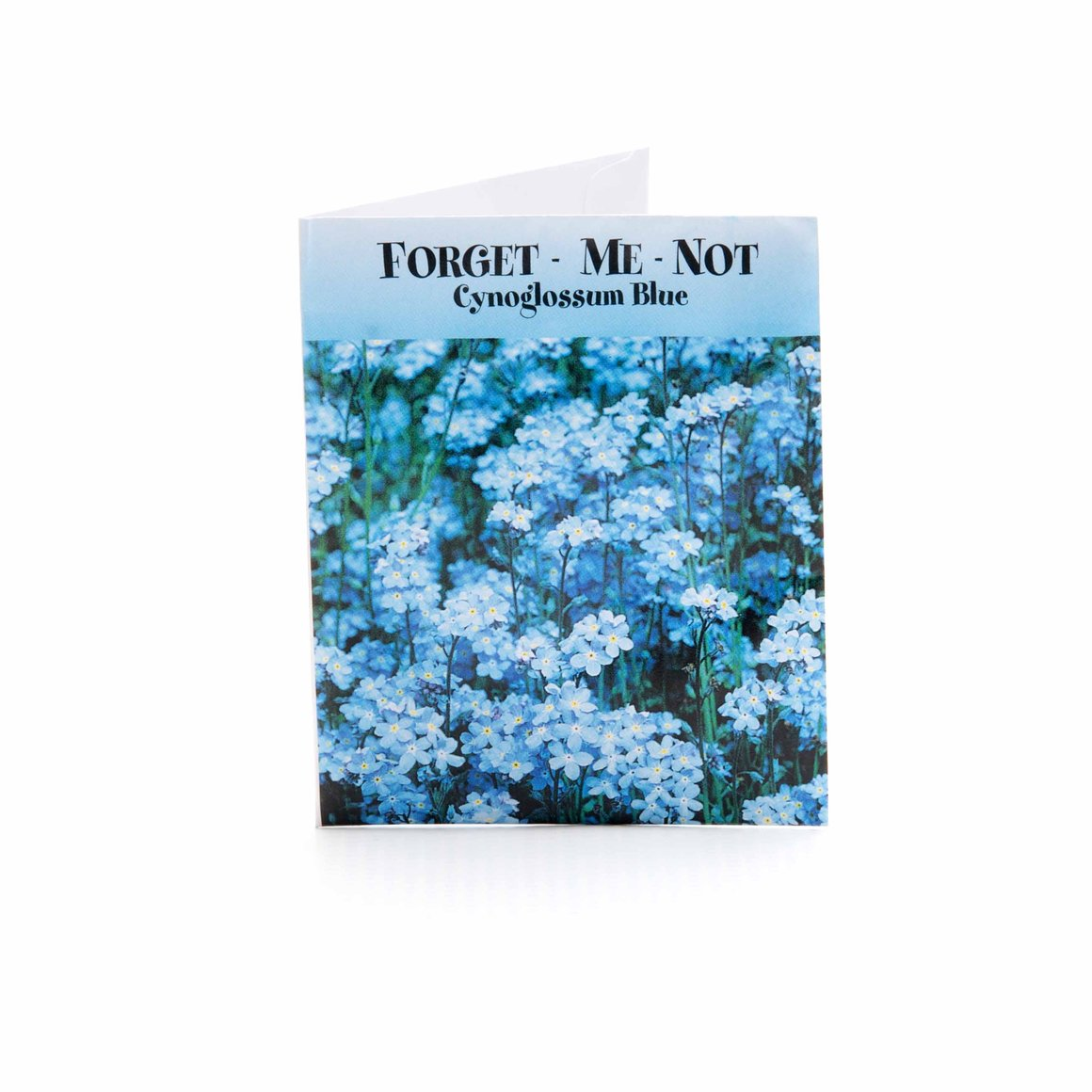"Forget-Me-Not Seed Packet product image - included with Dr. Don's Care Packages' Sympathy Care Package + ""Living With Loss"" Grief Journal Product Bundle."